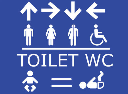 change direction: Vector set of toilet signs in white with blue background