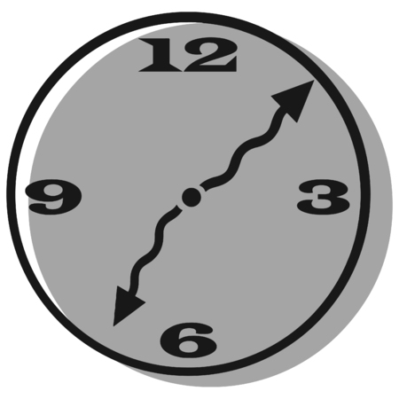 Vector clip art of a clock with curly hands and a shadow on a transparent background Illustration
