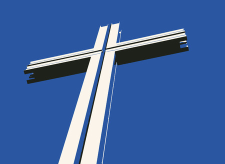 high spirits: Vector drawing of a cross with shadows against a blue background