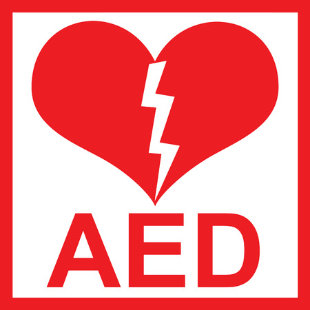 er: Vector of a red AED Sticker with heart shape and lightning