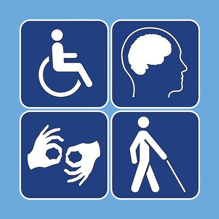 personas discapacitadas: Vector conjunto de símbolos de la discapacidad en azul y blanco