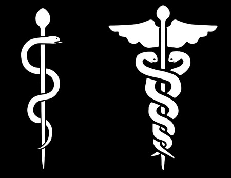 mercury staff: Vector of a Rod of Asclepius and a Caduceus on a black background Illustration