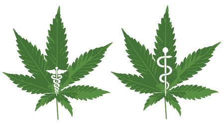 Vector of a Marijuana leaf with Caduceus and Rod of Asclepius to symbolize medicinal Marijuana