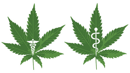 Vector of a Marijuana leaf with Caduceus and Rod of Asclepius to symbolize medicinal Marijuana Vector