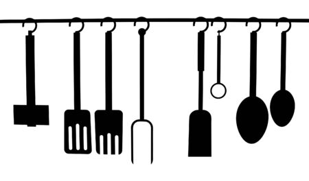 rack: Vector of a set of Kitchen Utensils hanging from a rack Illustration