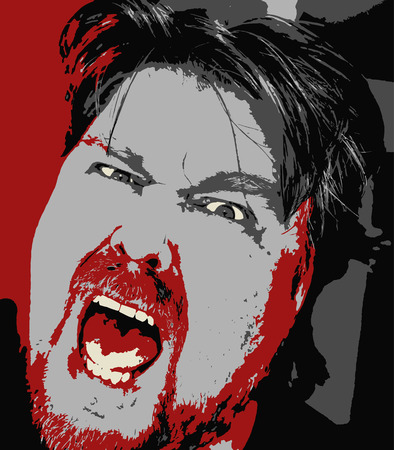 Vector drawing of a furiously angry man shouting frantically in pop art style