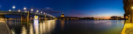 pierre: Nightly panorama of the Pont Saint-Pierre in Toulouse Stock Photo