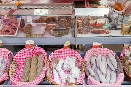 processed: TOULOUSE, FRANCE - JULY 27, 2014: Fresh products on display on the March� Saint Aubin, the Saint Aubin Market, in Toulouse. Marche Saint Aubin is only held on Sundays.