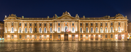 downtown capitol: Place du Capitole and Capitole de Toulouse at night Stock Photo