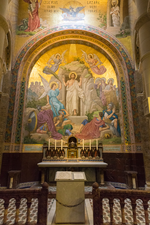 pentecost: LOURDES, FRANCE - JULY 23, 2014: Detail of a side chapel mosaic depicting the Pentecost inside the Rosary Basilica in Lourdes