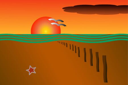 Vector drawing of an orange sunset at the beach with a row of wave breakers