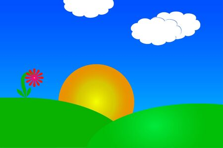 Vector drawing of a sunrise over a hillside against a blue sky with puff cloud and a pink red flower