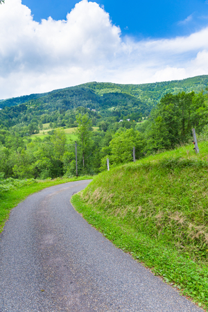 backroad: Curving back roads in the Pyrenees in Boussenac Stock Photo