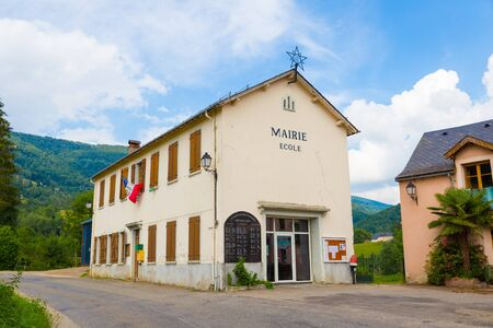 shool: De local shool and town hall in Espies in France Stock Photo