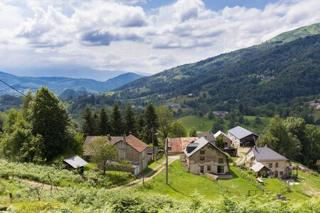 foothill: Little community in the Pyrenees in Boussenac in France Stock Photo