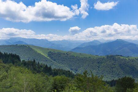 foothill: Mountain ridge in the Pyrenees at Boussenac Stock Photo