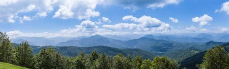 foothill: Panorama of the foothills of the Pyrenees in Biert Stock Photo