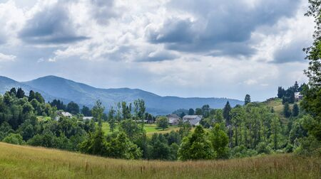 foothill: Panoramic view of landscape with a farm in the Pyrenees