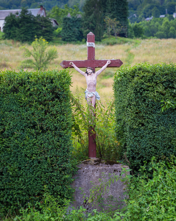 jezus: Roadside statue of Jezus with the letter INRI in Espies in France