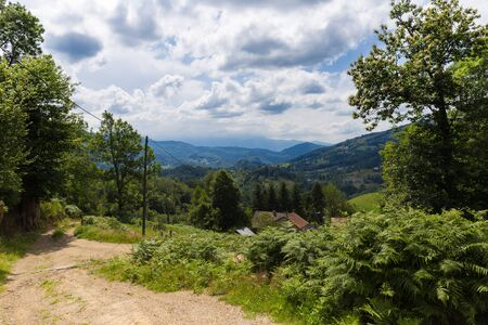 foothill: Sandy path in the Pyrenees in Boussenac in France Stock Photo
