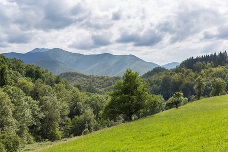 foothill: View of a mountain ridge in the Pyrenees in Boussenac in France