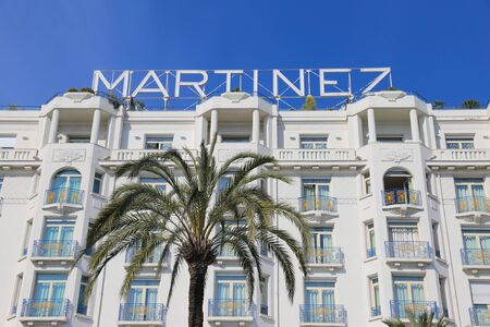 martinez: CANNES, FRANCE - APRIL 12, 2015: Grand Hyatt Cannes Hotel Martinez in Cannes at Boulevard de la Croisette. The Grand Hyatt Cannes Hotel Martinez is a famous art deco style Grand Hotel.