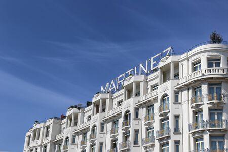 CANNES, FRANCE - APRIL 12, 2015: Grand Hyatt Cannes Hotel Martinez in Cannes at Boulevard de la Croisette. The Grand Hyatt Cannes Hotel Martinez is a famous art deco style Grand Hotel.