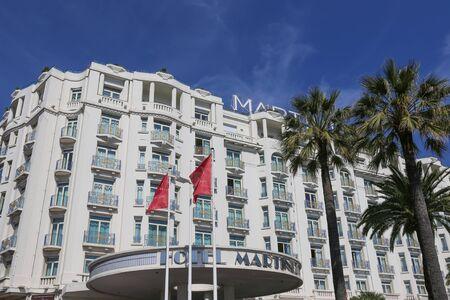 martinez: CANNES, FRANCE - APRIL 12, 2015: Grand Hyatt Cannes Hotel Martinez in Cannes at Boulevard de la Croisette. The Grand Hyatt Cannes Hotel Martinez is a famous art deco style Grand Hotel.