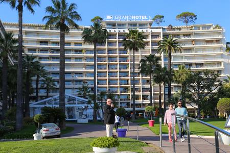 d'azur: CANNES, FRANCE - APRIL 12, 2015: Le Grand Hotel in Cannes located at Boulevard de la Croisette in Cannes, France.