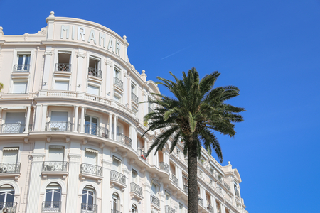 beach hotel: CANNES, FRANCE - APRIL 12, 2015: Tiara Miramar Beach Hotel & Spa in Cannes located at Boulevard de la Croisette in Cannes, France.