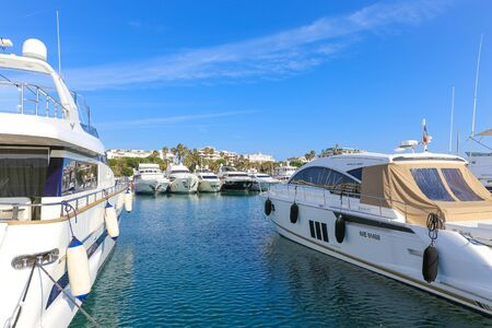 canto: CANNES, FRANCE - APRIL 12, 2015: Yachts anchored in Port Pierre Canto at the Boulevard de la Croisette in Cannes, France.  Cannes is synonymous with glamour thanks to its world-famous film festival.