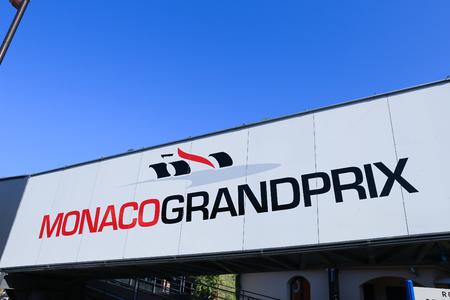 pedestrian bridge: MONACO - APRIL 13, 2015: Monaco Grand Prix logo on a pedestrian bridge. The Monaco Grand Prix is a Formula One motor race held on Circuit de Monaco, a narrow course laid out in the streets of Monaco.