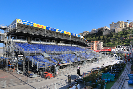 prix: MONACO - APRIL 13, 2015: Preparations for the Monaco Grand Prix 2015. The Monaco Grand Prix is a Formula One motor race held on Circuit de Monaco, a narrow course laid out in the streets of Monaco.