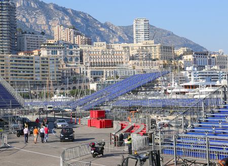 motor race: MONACO - APRIL 13, 2015: Preparations for the Monaco Grand Prix 2015. The Monaco Grand Prix is a Formula One motor race held on Circuit de Monaco, a narrow course laid out in the streets of Monaco.