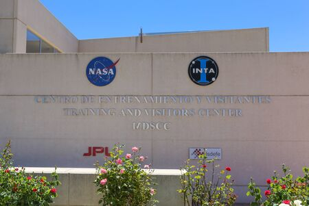propulsion: Robledo de Chavela, Spain May 15, 2015: NASA and INTA Logo at the Madrid Deep Space Communications Complex. The Madrid Deep Space Communications Complex is a ground station located in Spain.