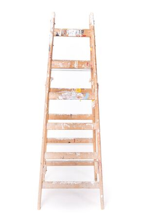 step ladder: Dirty step ladder with paint spillings isolated on a white background