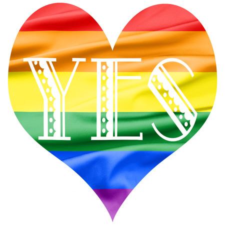 amor gay: Pedazo de terciopelo suave de tela en forma de corazón en el color del arco iris con la palabra SÍ escrito