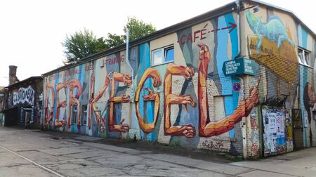 jumble: BERLIN - SEPTEMBER 24, 2015: RAW Gelnde is a post industrial jumble of derelict buildings along Revaler Strasse. Formerly a train repair station known as the Reichsbahn-Ausbesserungs-Werk RAW. Editorial