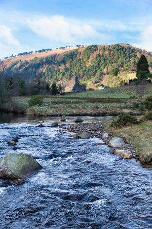 monastic sites: Glenealo river running through the valley in Glendalough in Ireland