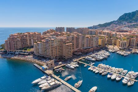 apartment blocks: View of the apartment blocks and the harbour in Monte Carlo in France Stock Photo