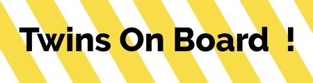 bumper: Yellow and white striped warning bumper sticker with the text Twins On Board Illustration