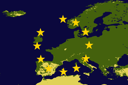 Vector illustration of Europe or EU without the United Kingdom to illustrate the UK leaving the EU also known as Brexit Illustration