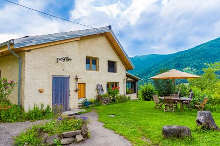 fescue: B&B Las Trinquades with view of the Pyrenees and a little garden and table and chairs in Boussenac in France