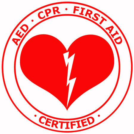 Red and white AED CPS First AID Certified text between two round borders sticker vector Illustration