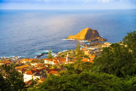 Porto Moniz is a municipality in the northwest corner of the island of Madeira part of Portugal in the Atlantic Ocean 写真素材