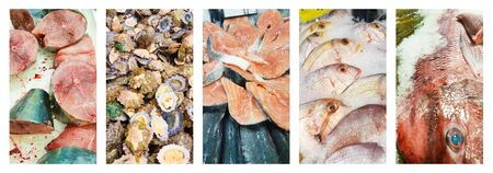 Selection of fresh fish displayed on ice in a supermarket in Madeira. Images put together in collage with a white border.
