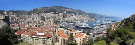 Panoramic view of the city of Monte Carlo and its recreational harbour 写真素材