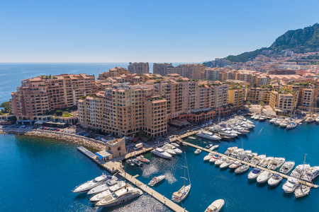 View of the apartment blocks and the harbour in Monte Carlo in France 報道画像