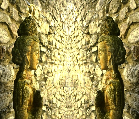 goddesses: Indonesian statues of goddesses in a cave temple Stock Photo