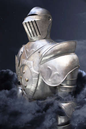 enveloped: Soldier in armor enveloped in clouds with the night sky behind